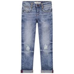 Junior - Jean effet used et crinkle avec déchirures et poches