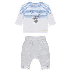 Ensemble avec tee-shirt rayé et pantalon gris chiné avec taille élastiquée