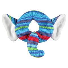 Hochet peluche forme éléphant en tricot
