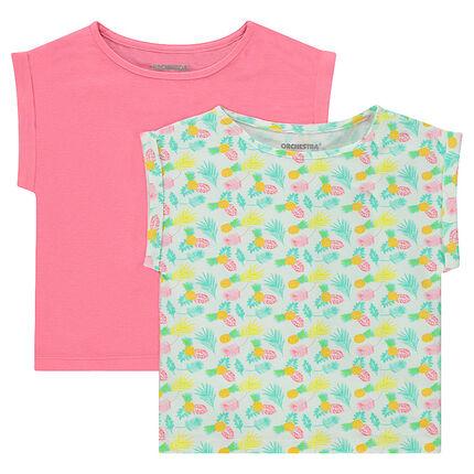Junior - Lot de 2 Tee-shirt manches courtes forme boîte en jersey