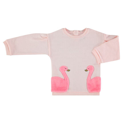 Sweat en molleton avec flamants roses en sherpa