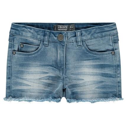Short en jeans effet délavé avec franges