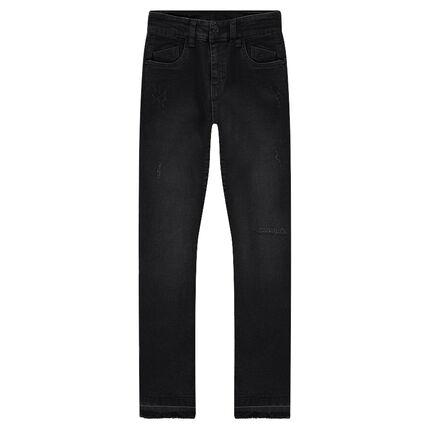 Junior - Jeans effet used coupe slim avec ourlets décousus