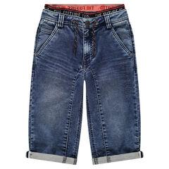 Junior - Bermuda en jeans effet used avec double taille élastiquée