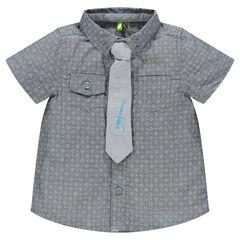 Chemise manches courtes avec poches et cravate print guitare