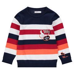 Pull en tricot rayé avec prints et patchs
