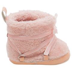 1/2 bottes en sherpa fourrées avec lacets en velours