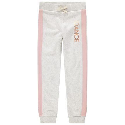 Pantalon de jogging en molleton à bandes roses et touches de doré