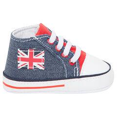Baskets montantes en toile effet jeans avec patch drapeau