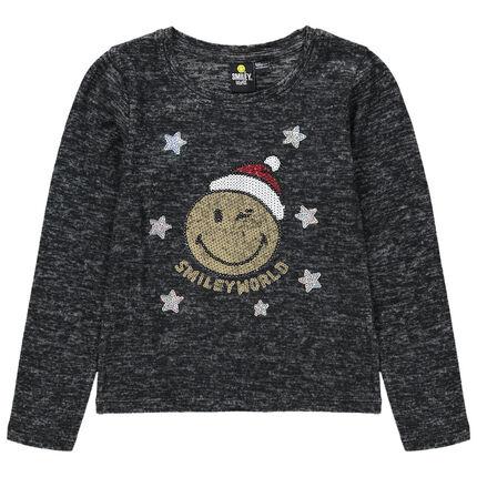 T-shirt manches longues en maille chinée avec Smiley en sequins magiques