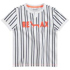 Tee-shirt manches courtes à rayures verticales et message printé
