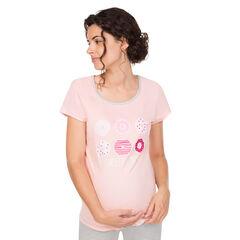 Tee-shirt manches courtes homewear de grossesse print donuts