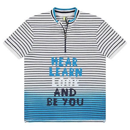 Junior - Polo manches courtes en jersey effet tie and dye avec col zippé