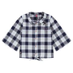 Chemise à carreaux avec manches 3/4 évasées et badges patchés
