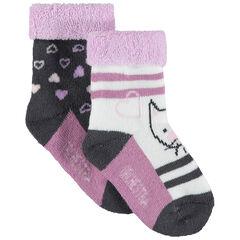 Lot de 2 paires de chaussettes en maille bouclette motif chat et rayures jacquard