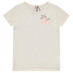 Junior - Tee-shirt manches courtes en jersey fantaisie avec fleurs brodées