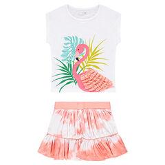 Ensemble avec tee-shirt print flamant rose et jupe effet shibori