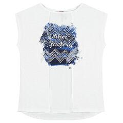 Junior - Tee-shirt manches courtes bi-matière avec print fantaisie