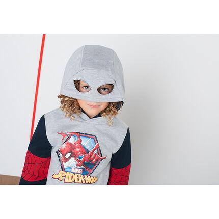 Sweat en molleton avec print ©Marvel Spiderman et capuche effet masque