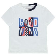 T-shirt manches courtes en jersey à col bicolore