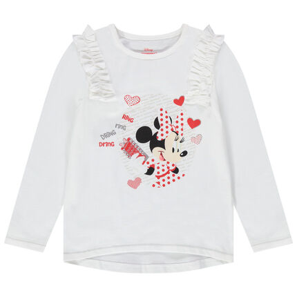 T-shirt manches longues print Minnie Disney avec ruchés