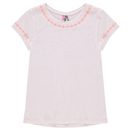 Tee-shirt manches courtes avec fines broderies