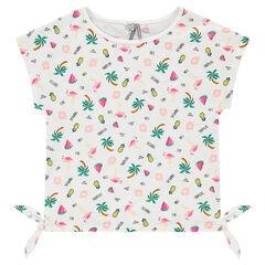 Junior - Tee-shirt manches courtes en jersey slub avec prints fantaisie