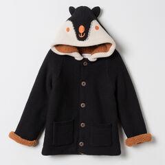 Veste en maille doublée sherpa à détails brodés et oreilles en relief