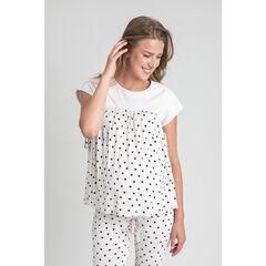 T-shirt de grossesse homewear à pois