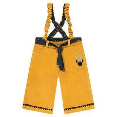 Pantalon large en velours avec bretelles élastiquées et broderie Disney Minnie