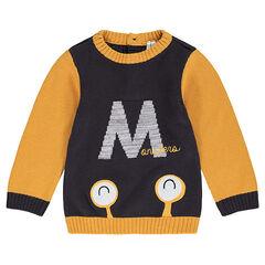 Pull en tricot avec lettre et monstre en jacquard