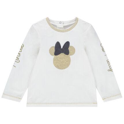 T-shirt manches longues uni avec Minnie Disney en sequins dorés