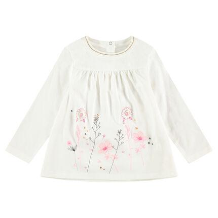 Tee-shirt manches longues évasé avec fleurs brodées