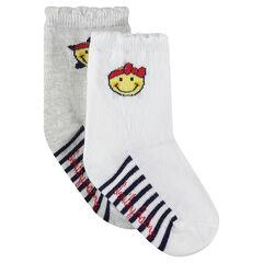 Lot de 2 paires de chaussettes avec rayures et motif ©Smiley en jacquard