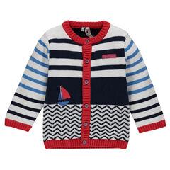 Gilet en tricot avec motif jacquard et bateau printé