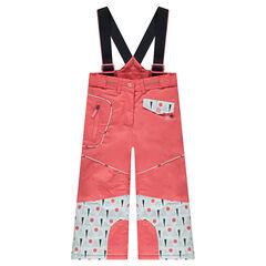 Pantalon de ski avec bretelles amovibles et imprimé graphique