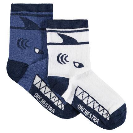 Lot de 2 paires de chaussettes assorties avec motif requin en jacquard