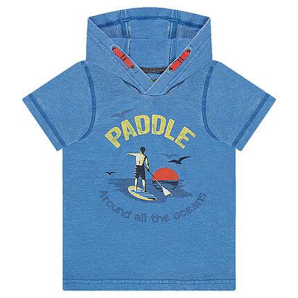 """Tee-shirt manches courtes à capuche avec print """"paddle"""" sur le devant"""