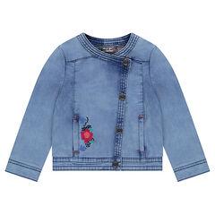Veste en jeans avec fleurs brodées et ouverture asymétrique