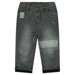 Jeans droit effet used doublé micropolaire