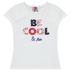 Tee-shirt manches courtes à message fantaisie