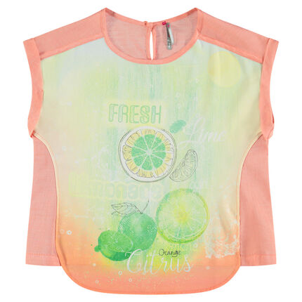 Junior - Tee-shirt manches courtes coupe asymétrique print fruits