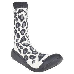 Chaussons chaussettes imprimé léopard et semelle gomme