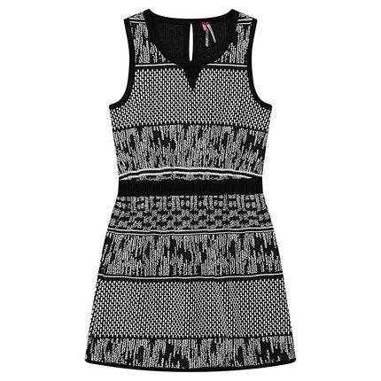 Robe sans manches avec motif jacquard all-over