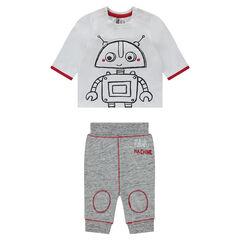 Ensemble tee-shirt print robot et pantalon en molleton