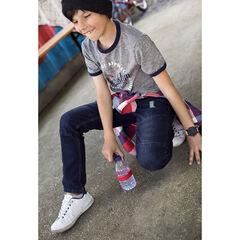 Junior - Jeans slim effet used et crinkle avec usures