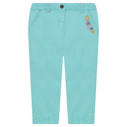 Pantalon en coton fantaisie avec fleurs brodées