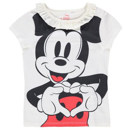 Tee-shirt en jersey avec col volanté et print Mickey  ©Disney