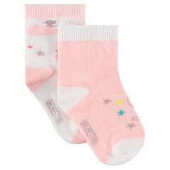 Lot de 2 paires de chaussettes assorties avec motif fantaisie en jacquard