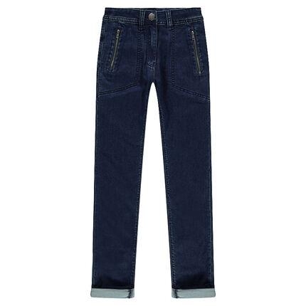 Junior- Jeans en molleton effet used avec poches zippées